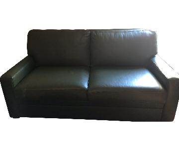 Moss Green Leather Queen Sleeper Sofa