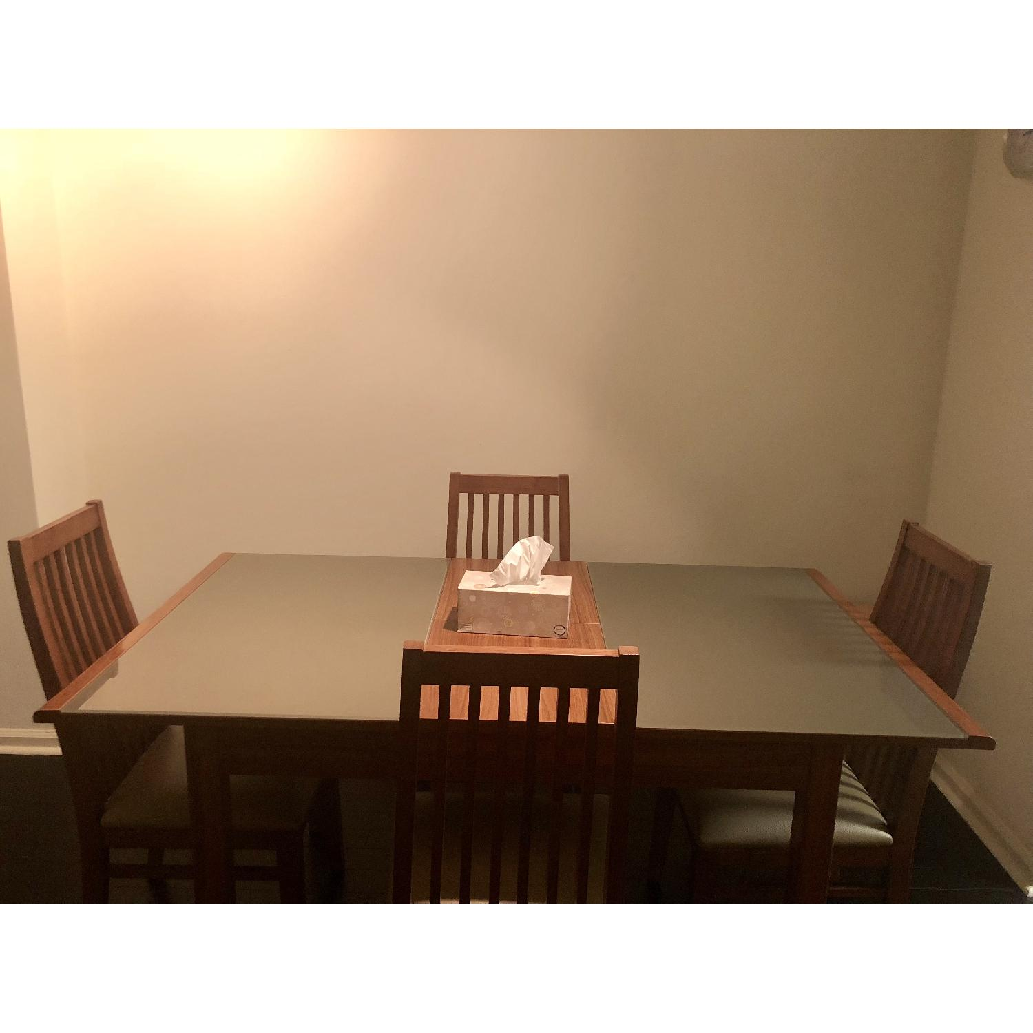 Wood & Glass Expandable Dining Table w/ 4 Chairs-0