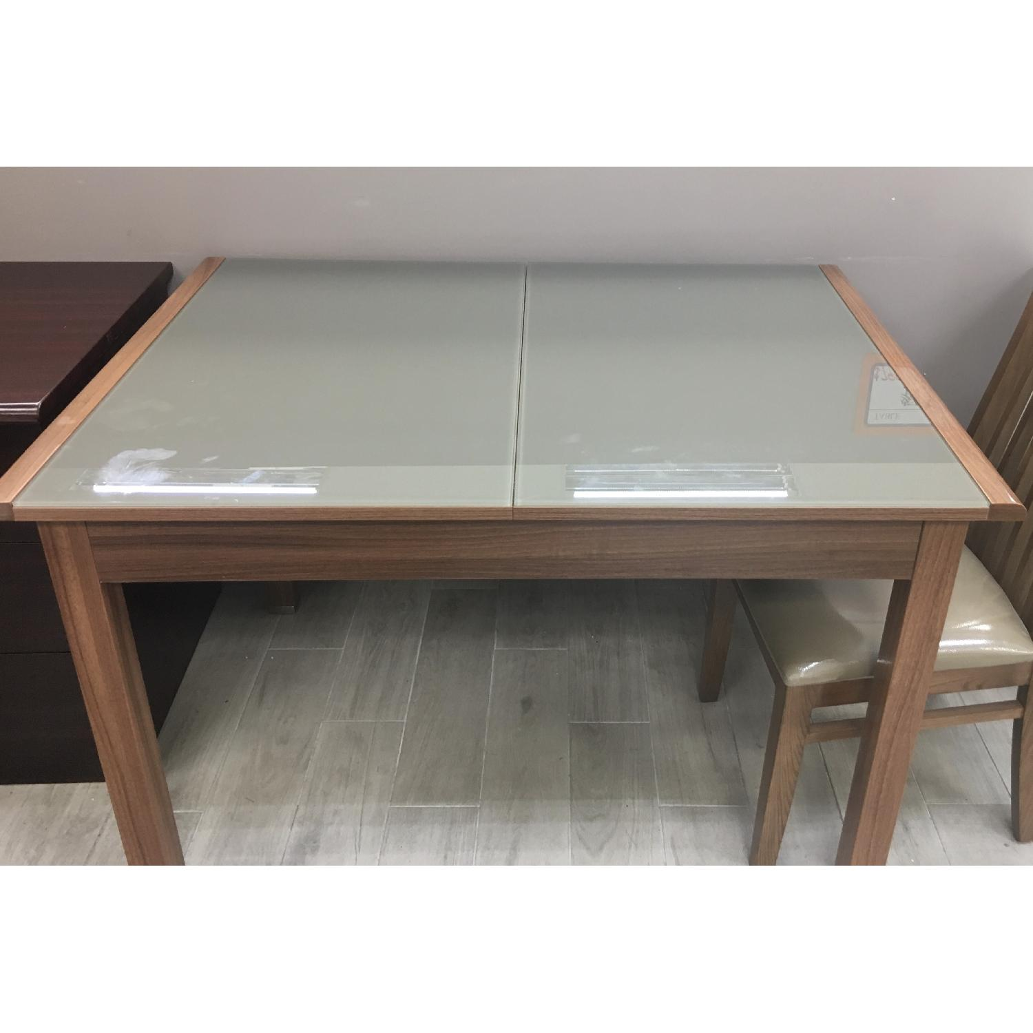 Wood & Glass Expandable Dining Table w/ 4 Chairs-2