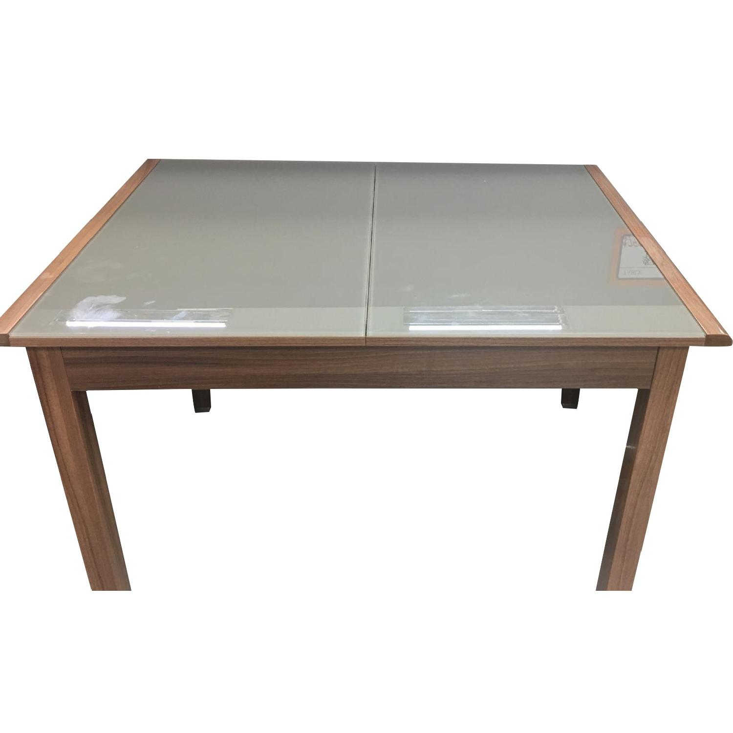 Wood & Glass Expandable Dining Table w/ 4 Chairs