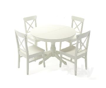Ikea White Wood Round Extendable 5-Piece Dining Set
