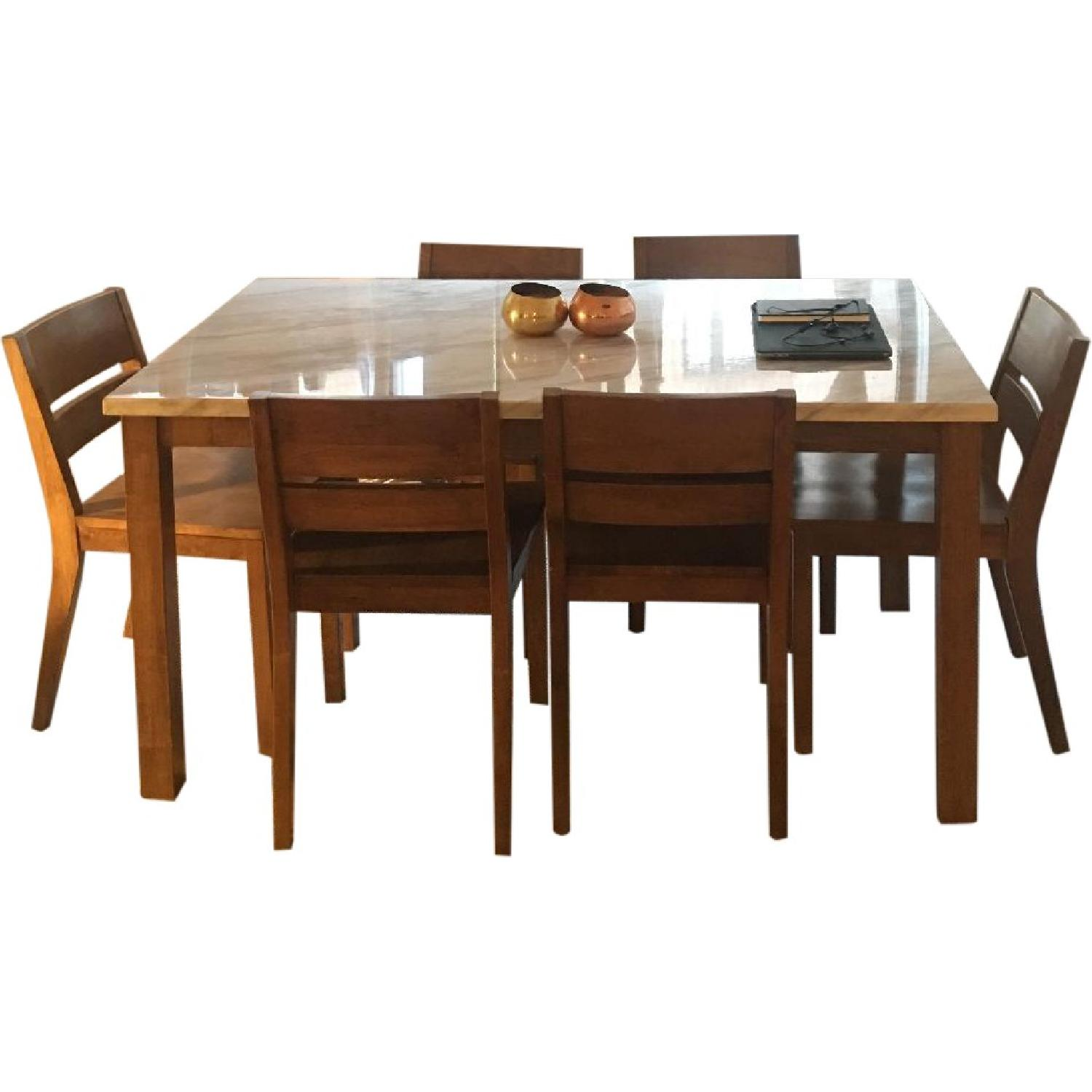 West Elm Faux Marble Wood 7-Piece Dining Set