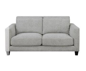 George Oliver Lancelot Double Cushion Grey Linen Loveseat
