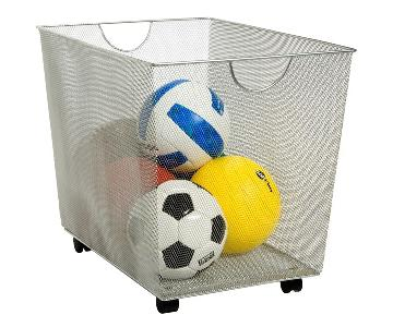Container Store Silver Mesh Rolling Storage Bins w/ Handles