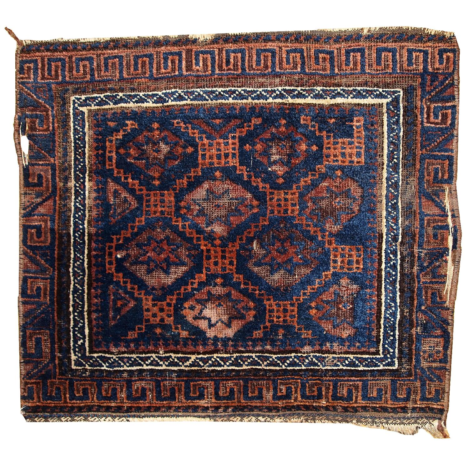 Antique Handmade Collectible Afghan Baluch Bag Face Rug - image-0