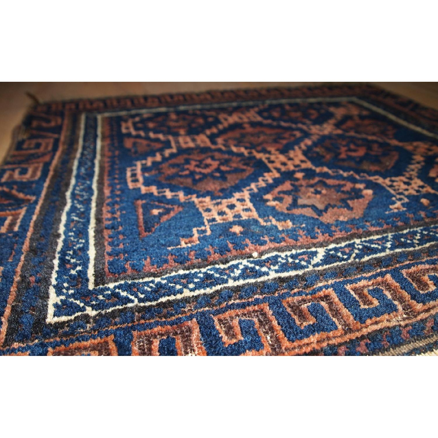 Antique Handmade Collectible Afghan Baluch Bag Face Rug-3