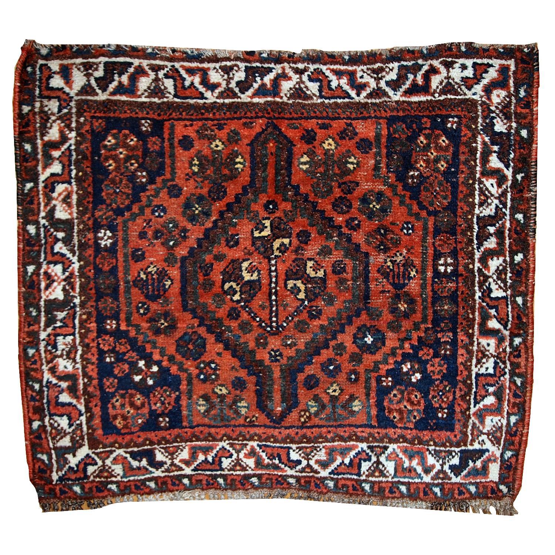 Antique Handmade Collectible Persian Shiraz Bag Face Rug