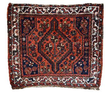 Antique Handmade Collectible Persian Shiraz Bag Face Rug