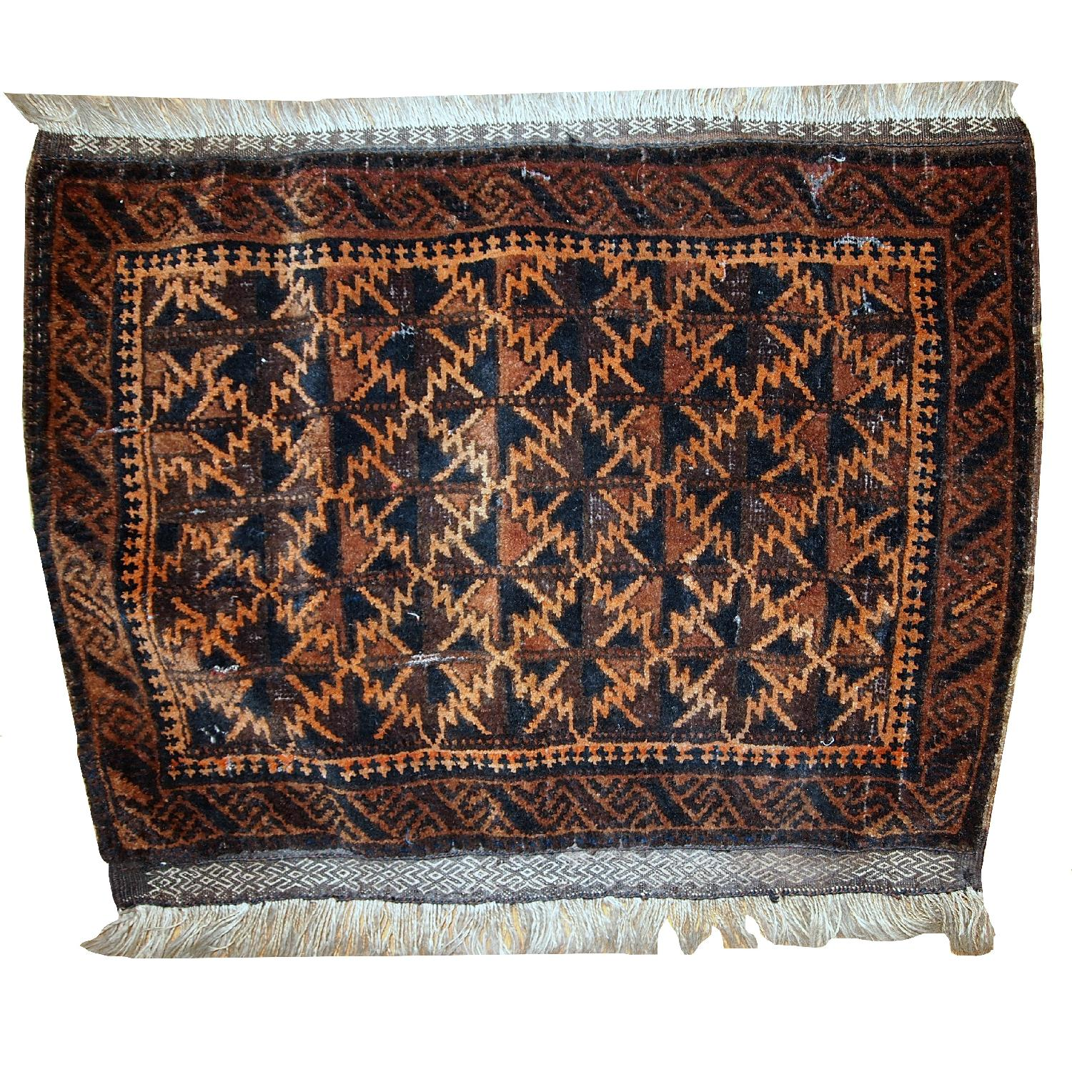 Antique Handmade Collectible Afghan Baluch Bag Face Rug