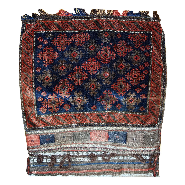 Antique Handmade Afghan Baluch Salt Bag Rug