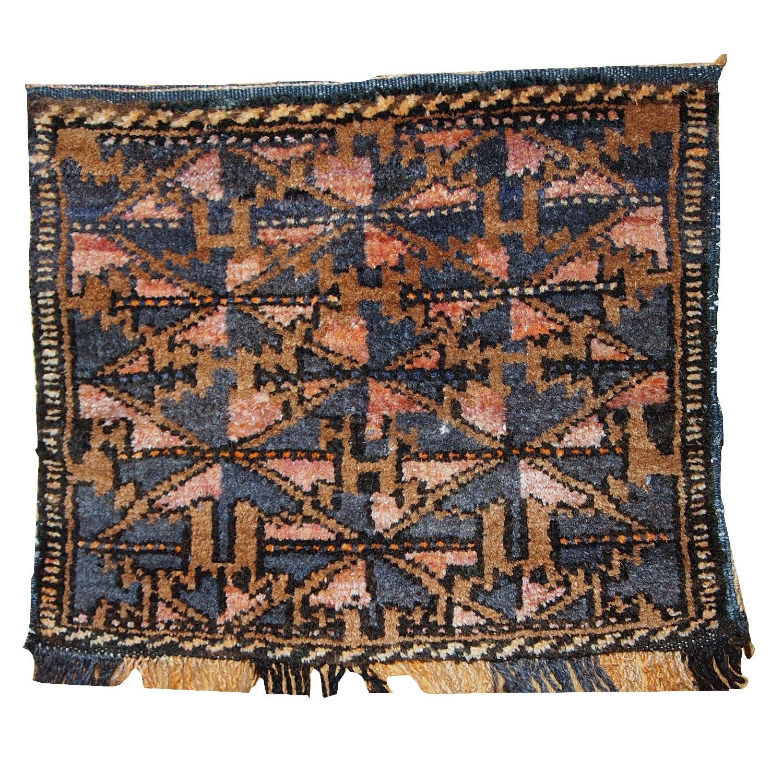 Antique Handmade Collectible Uzbek Bag Face Rug
