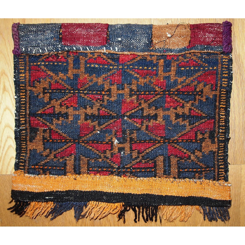 Antique Handmade Collectible Uzbek Bag Face Rug-4