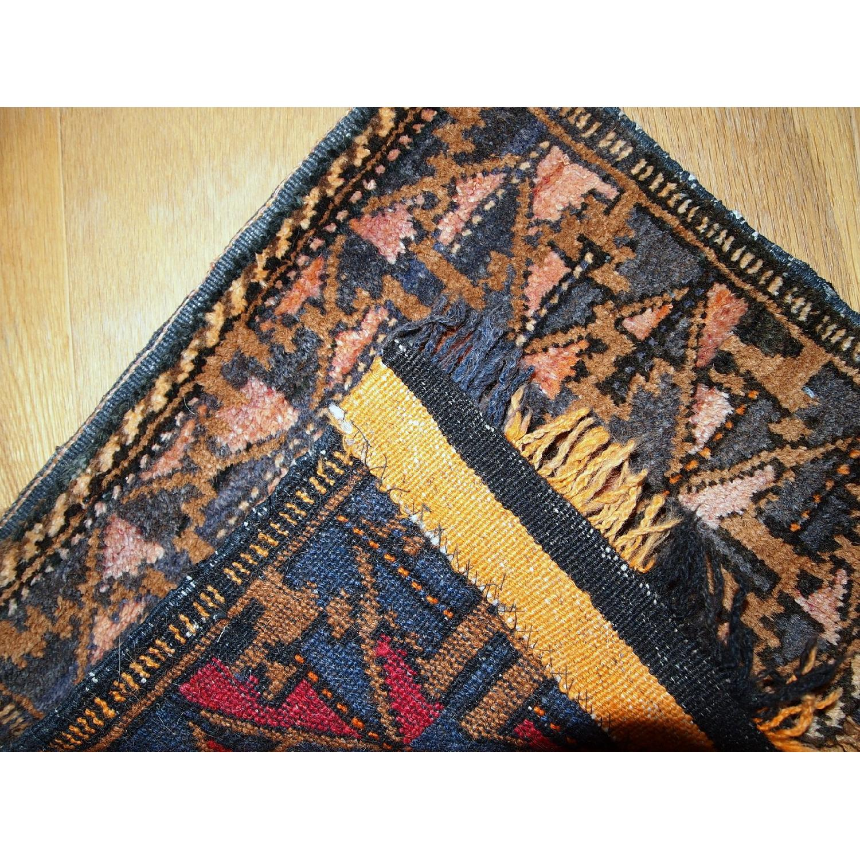 Antique Handmade Collectible Uzbek Bag Face Rug-5