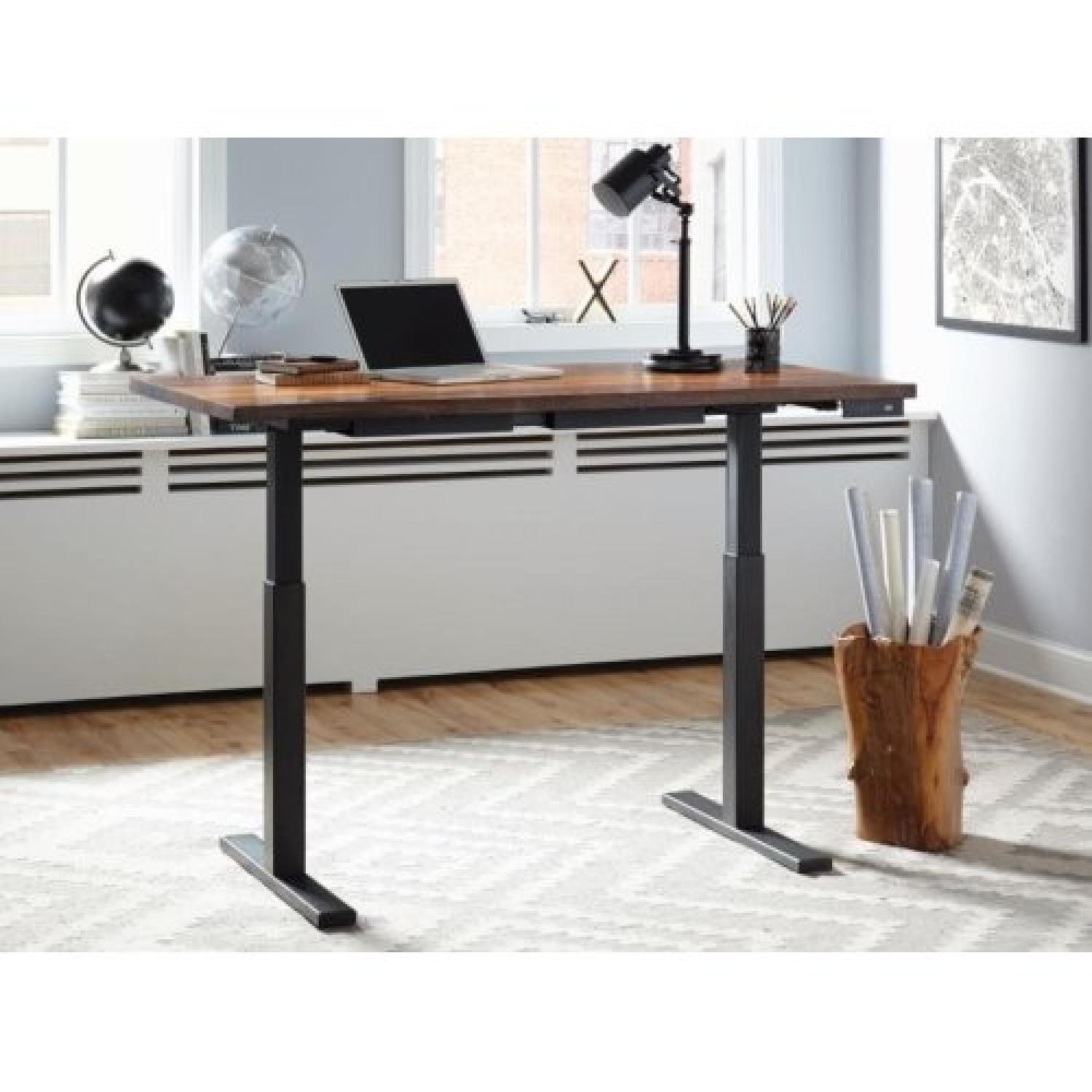Motorized Height-Adjustable Wood Standing Desk w/ Metal Base-1