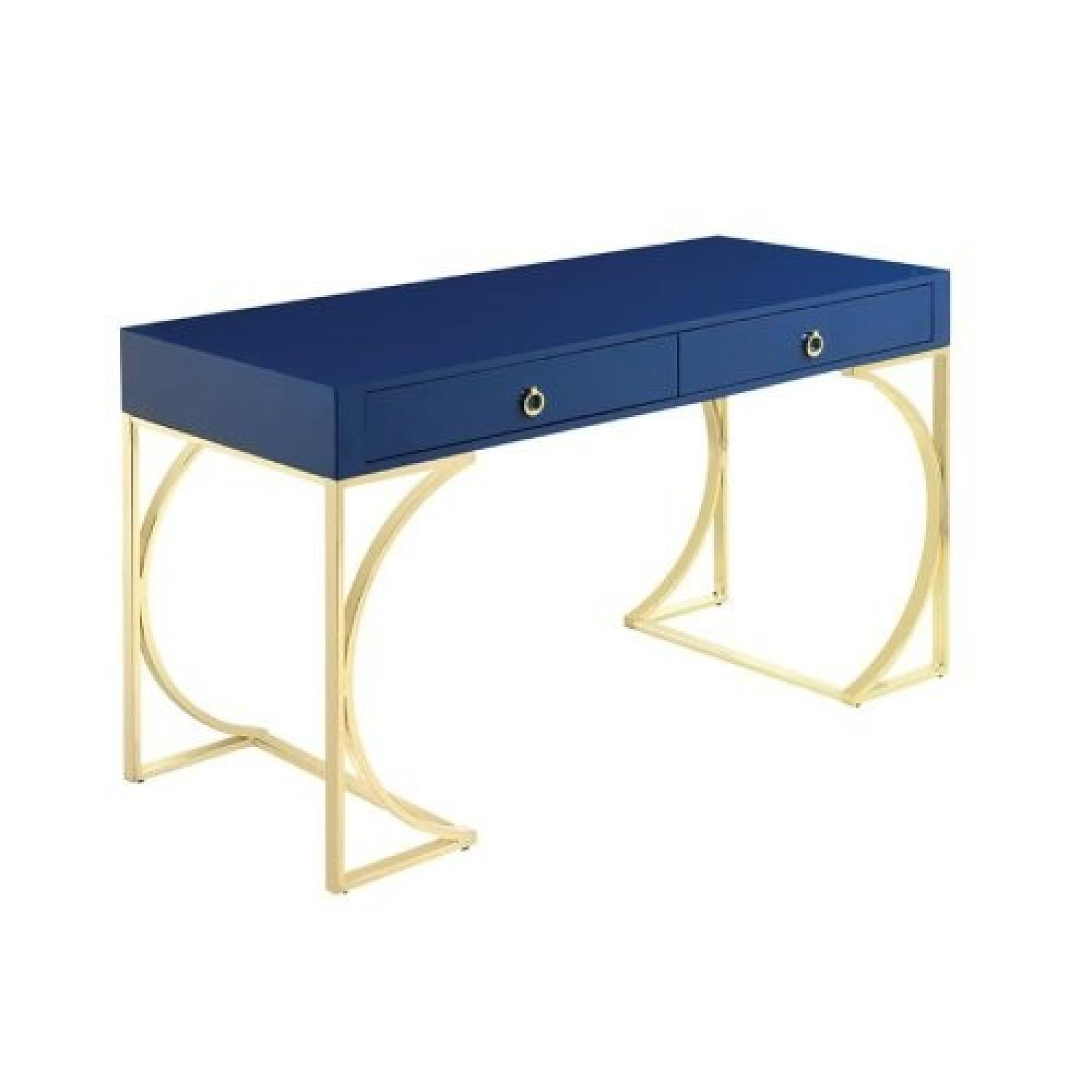 Desk Finished in Glossy Blue w/ Metal Base