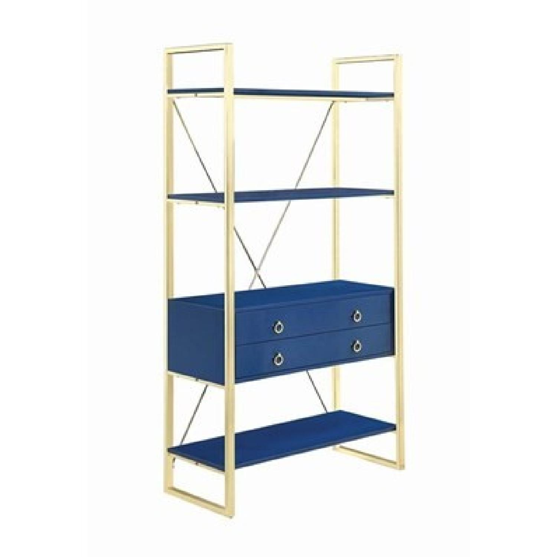 Glossy Blue Finish Bookcase w/ Metal Base-0
