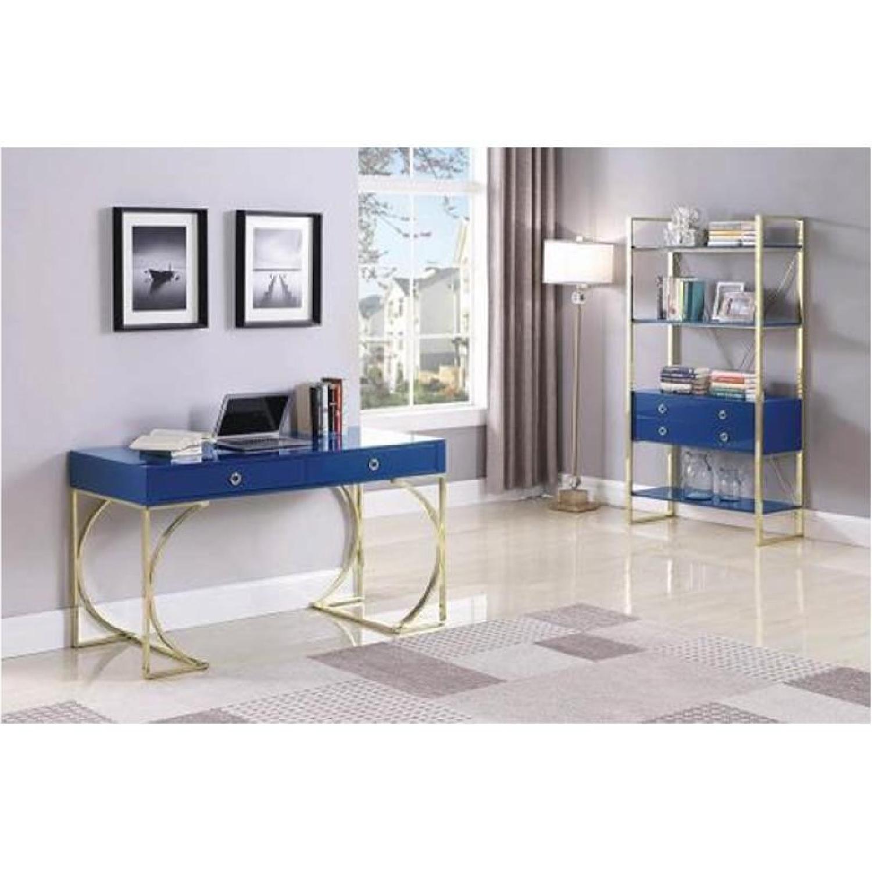 Glossy Blue Finish Bookcase w/ Metal Base-1