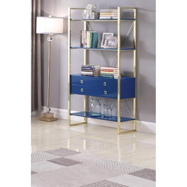 Glossy Blue Finish Bookcase w/ Metal Base-2