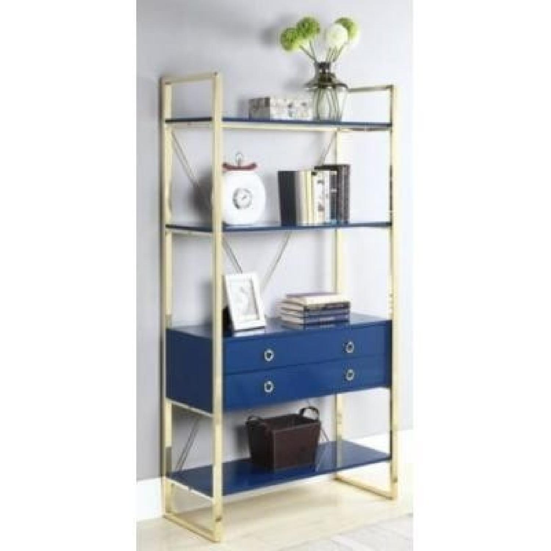 Glossy Blue Finish Bookcase w/ Metal Base-3