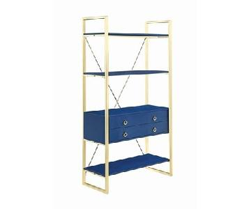 Glossy Blue Finish Bookcase w/ Metal Base