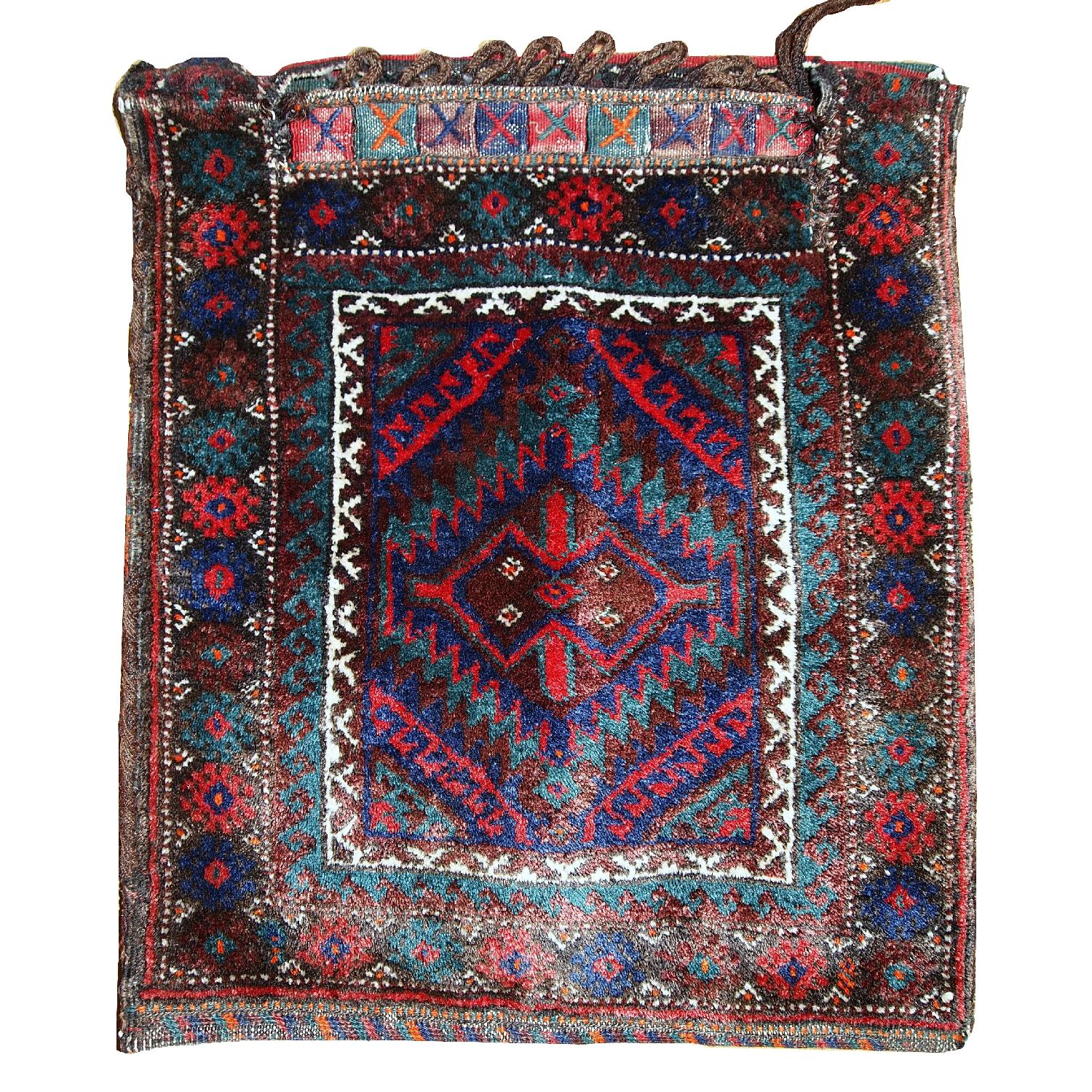 Antique Handmade Persian Kurdish Salt Bag Rug - image-0