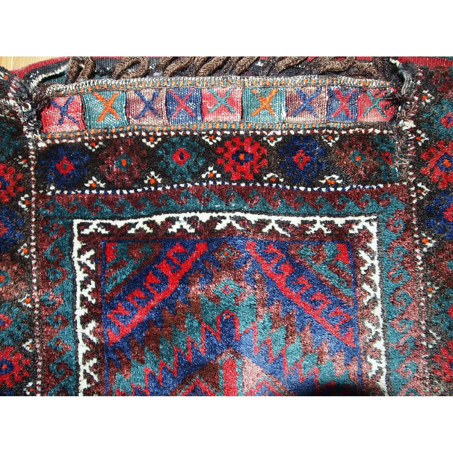 Antique Handmade Persian Kurdish Salt Bag Rug-10