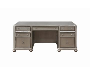 Executive Desk W/ Metallic Finished Wood
