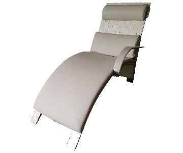 Brushed Chrome White Leather Weave Reclining Lounge Chair