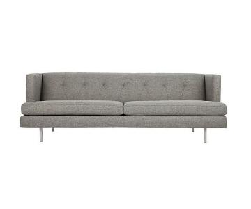 CB2 Avec Grey Sofa w/ Brushed Stainless Steel Legs