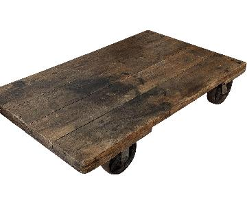 Industrial Workshop Style Coffee Table on Wheels