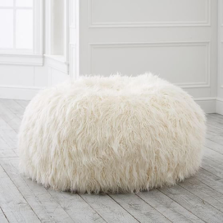 Pottery Barn Ivory Furlicious Faux-Fur Bean Bag