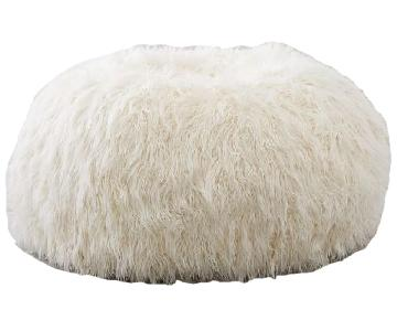 Pottery Barn Ivory Furlicious Faux-Fur Bean Bag