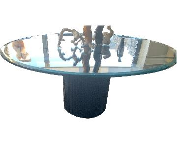 Glass Top Dining Table on Black Ridged Base