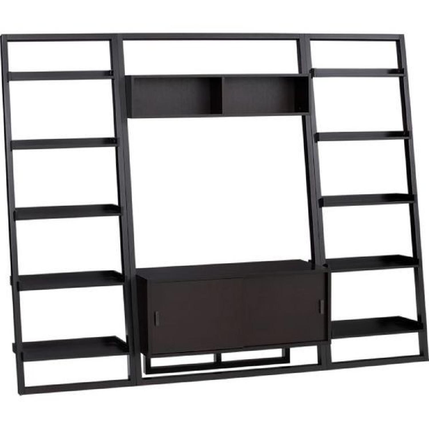 Crate & Barrel Sloane Leaning Media Stand w/ 2 Bookcases