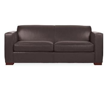 Room & Board Dark Brown Leather Queen Sleeper Sofa