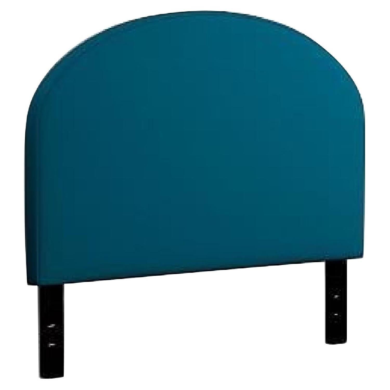 West Elm King Size Headboard in Blue Lustre Velvet