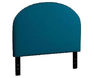 West Elm King Size Headboard in Blue Lustre Velvet