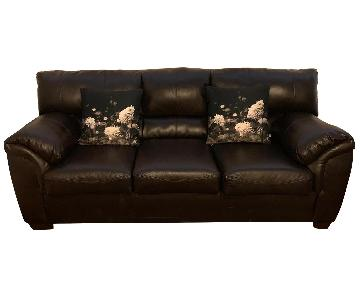 Bob's Brown Leather Sleeper Sofa