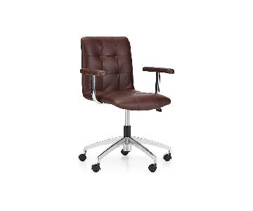 Crate & Barrel Navigator Saddle Brown Leather Tufted Chair