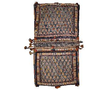 Antique Handmade Persian Sumak Sadle Double Bag