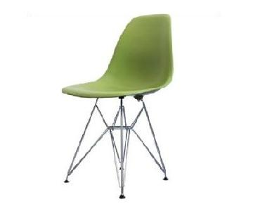 Eames Molded Plastic Black Wire Base Side Chairs