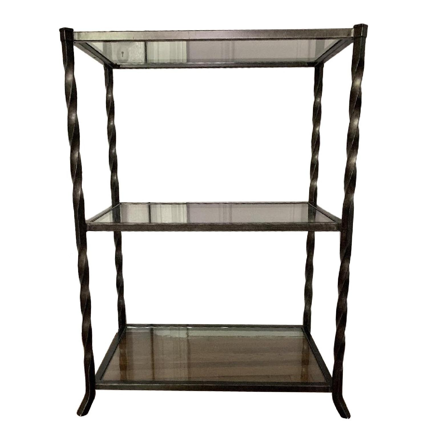 Crate & Barrel Glass & Iron Table w/ Twist Detailing
