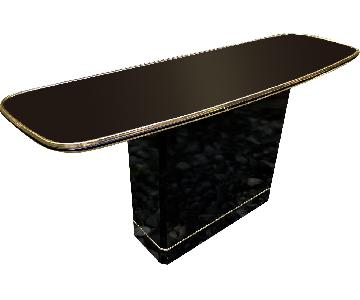 Vintage Black Lacquer Bar Console Table w/ Mirror Top