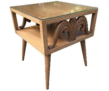 Mid Century Carved Side Table w/ Glass Top
