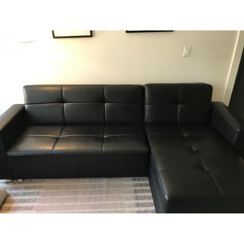 Black Modern Faux Leather Sectional Sofa - AptDeco