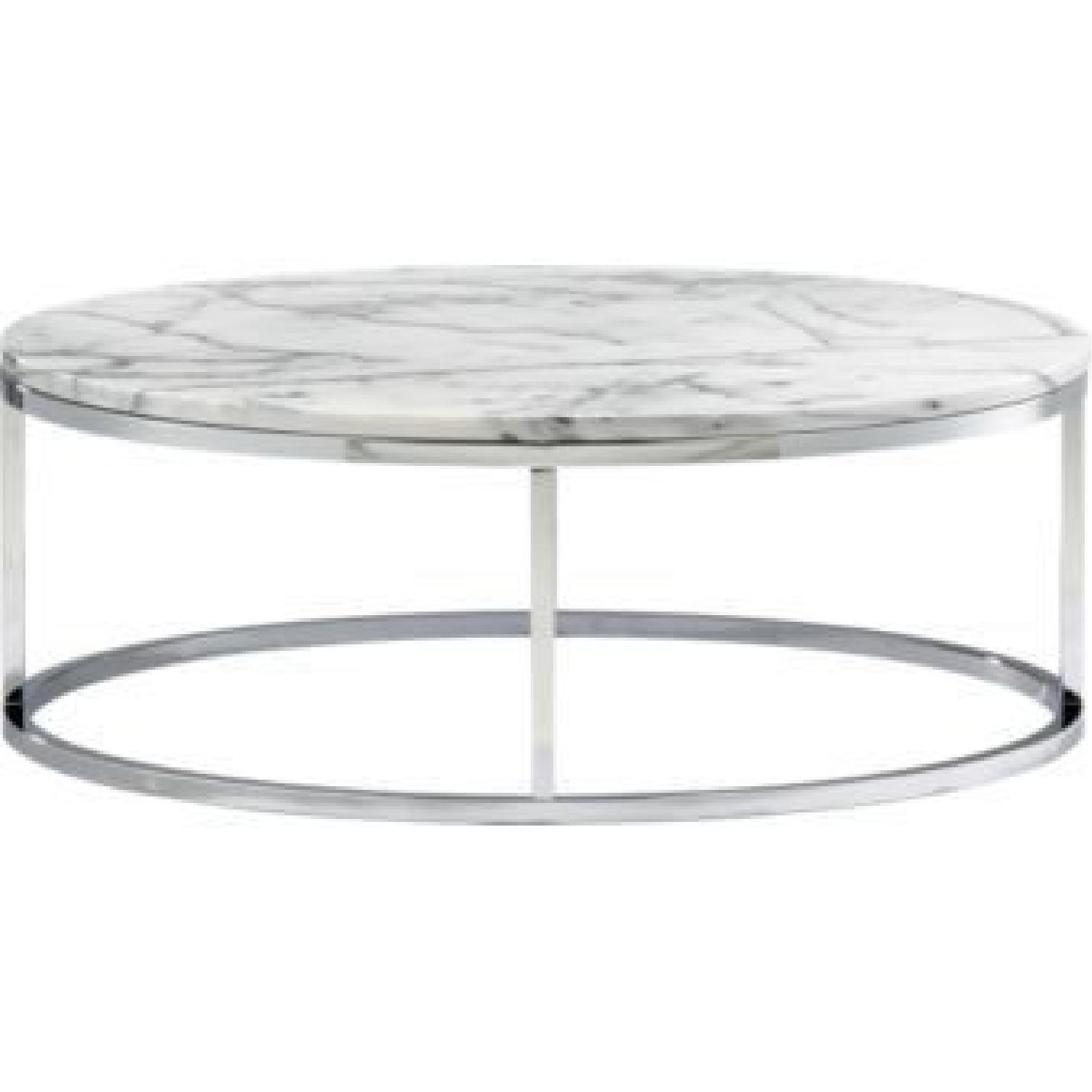 Picture of: Cb2 Smart Round Marble Coffee Table Aptdeco