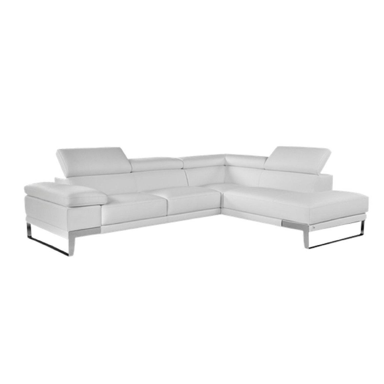 Lazzoni Italian White Leather 2 Piece Sectional Sofa - AptDeco