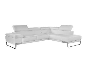 Lazzoni Italian White Leather 2 Piece Sectional Sofa