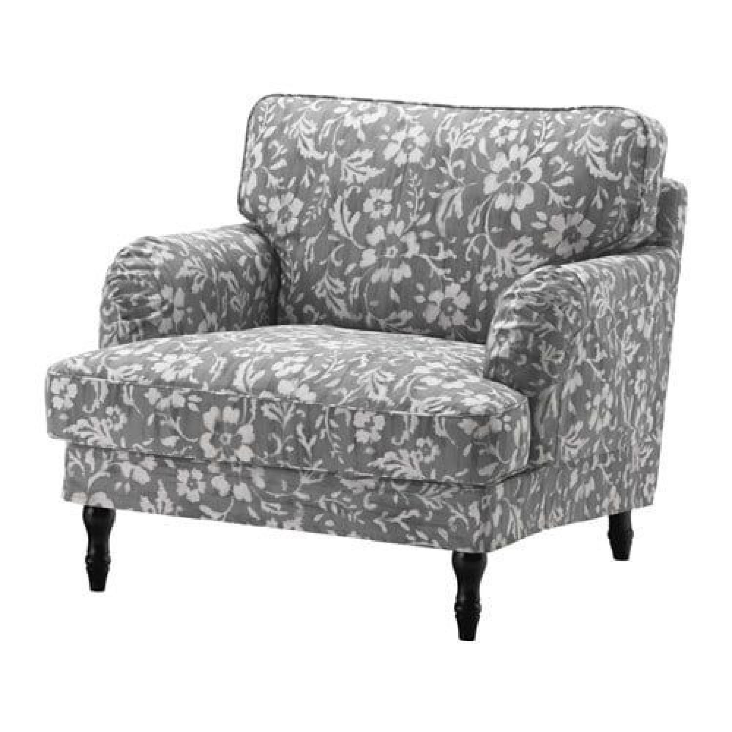 Ikea Gray Patterned Accent Chair Aptdeco