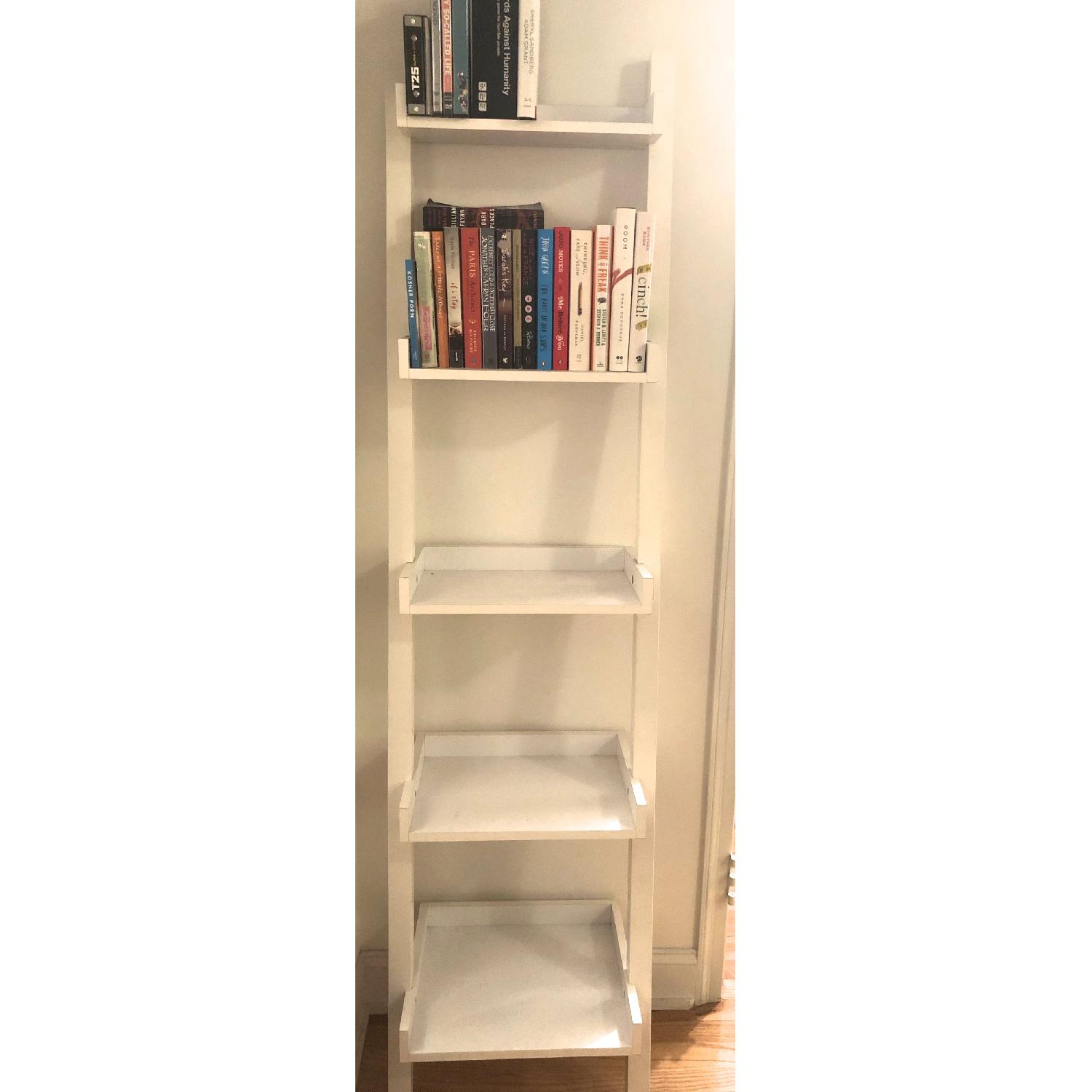 Container Store White Linea Leaning Bookcase